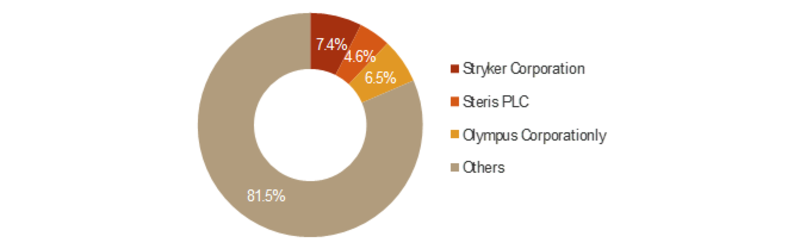 Global Integrated Operating Room Systems Market, Major Players Market Share Analysis, 2017 (%)